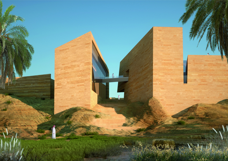 Addiriyah Art Center, vincitore dell'Iconic Award, categoria Concept. Vista dal wadi.