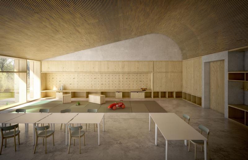 """X-Lam e materiali """"eco"""" per la scuola-monolite di Paolo Milani e studio OPPS a Savogna d'Isonzo (Gorizia)"""