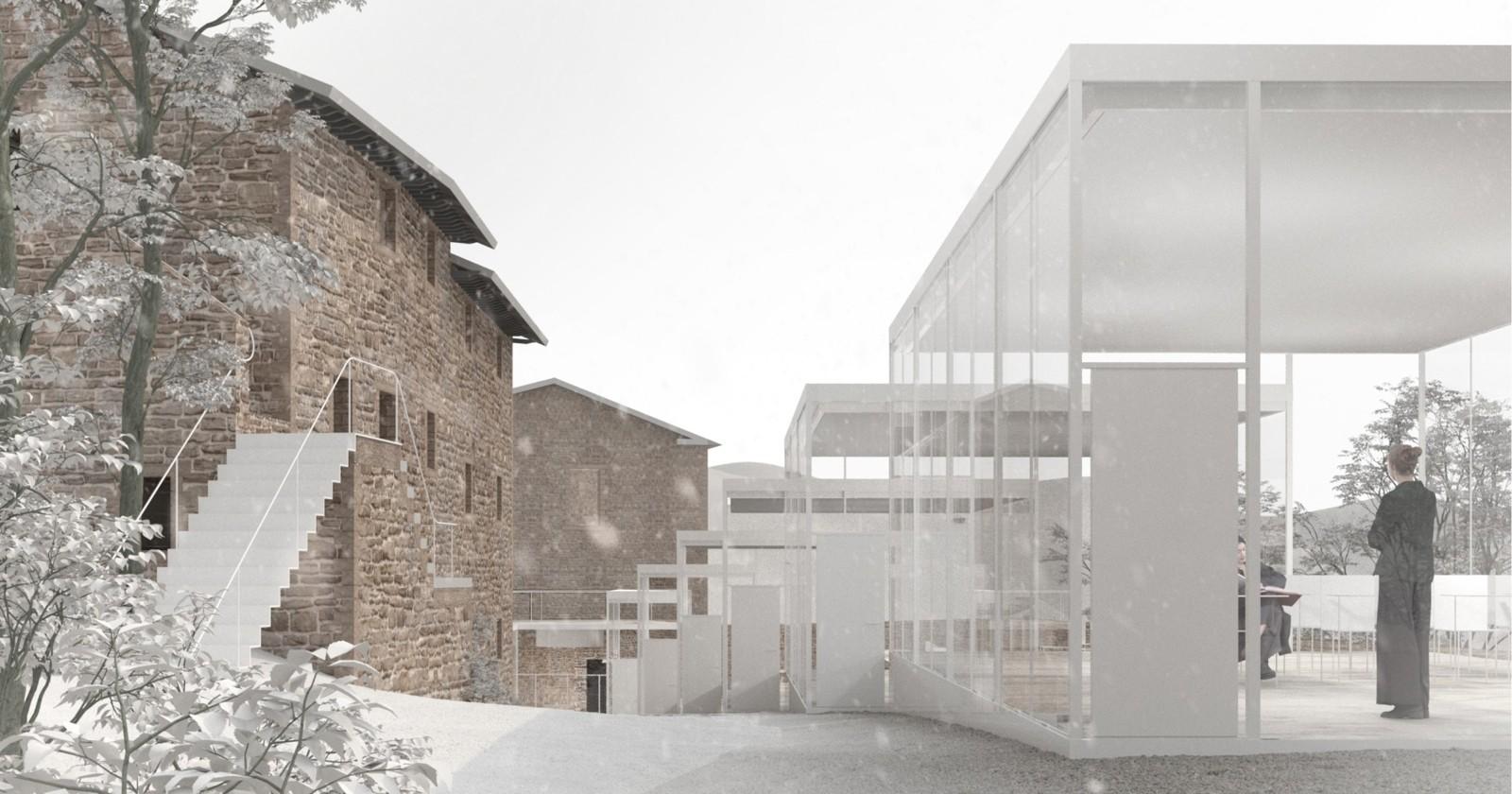 Un volume etereo per un campus di design ai piedi della Rocca di Modigliana (FC)