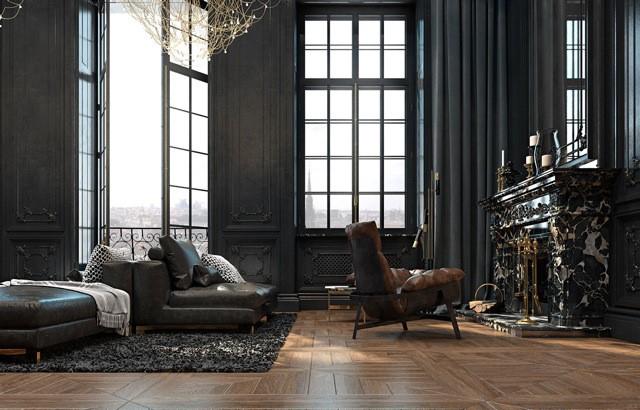 Appartamento a parigi in nero p a design for Interni appartamenti parigini