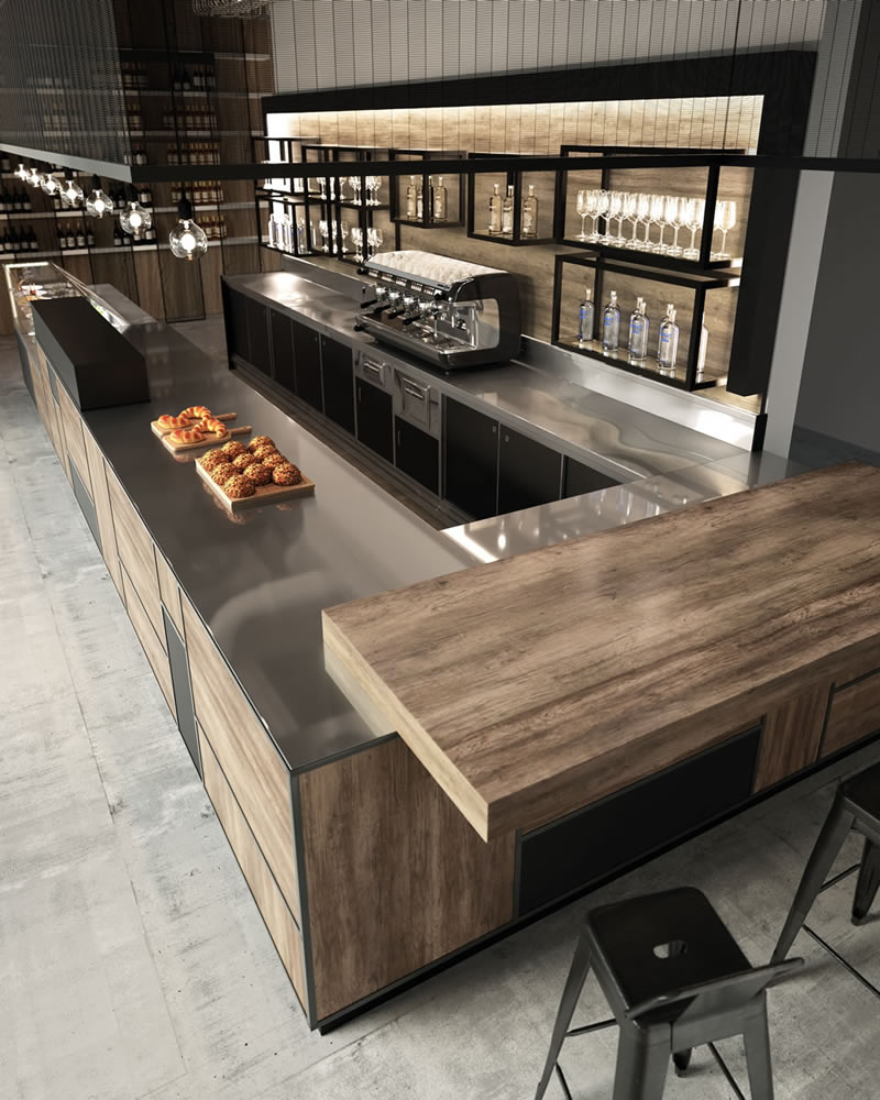 Frigomeccanica l arredo bar professionale tra design e for Bar stile industriale