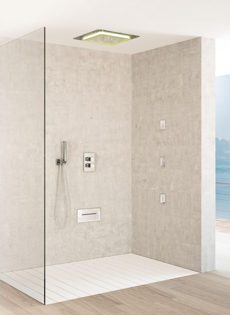 Uno spazio wellness nel bagno di casa con le soluzioni fir - Soffione doccia incasso ...